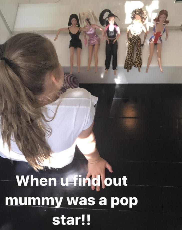 Haper Beckham discovers Victoria beckham Spice Girl dolls.3