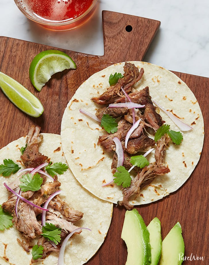 Pork carnitas on tortillas