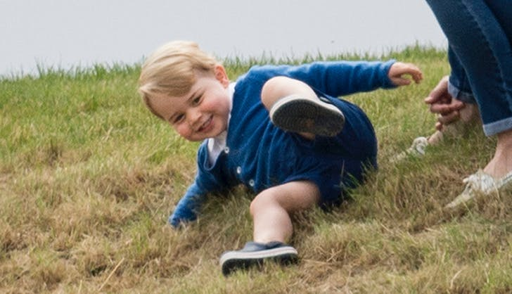 Prince George rolling down hill