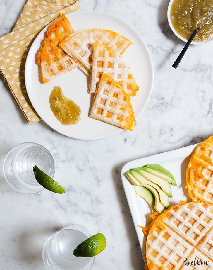 Quesadilla made in a waffle iron