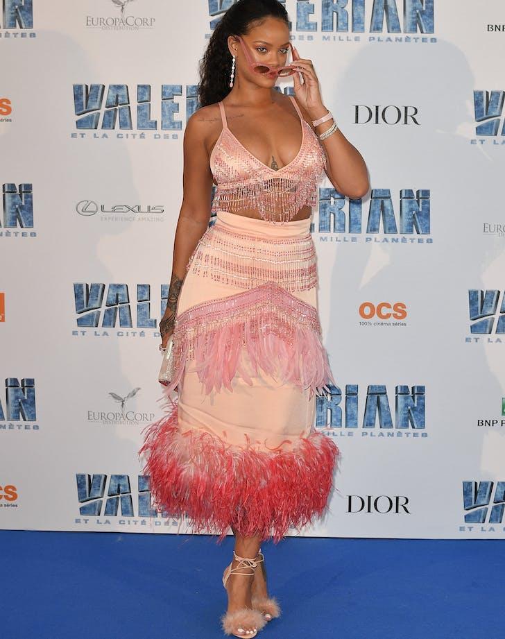 Rihanna pink prada dress Valerian premiere