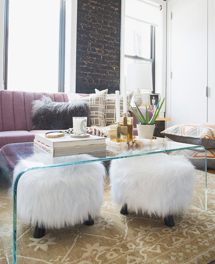 Slide Stools or Cushions Underneath a Coffee Table adding seating