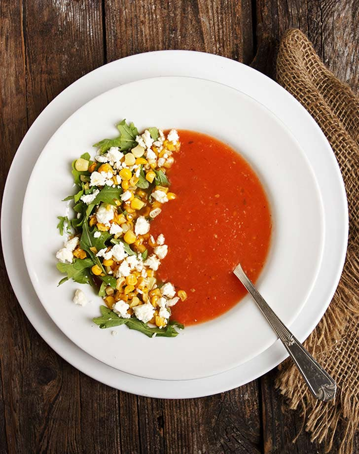 corn garnish tomato soup LIST