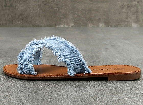 denim slides hamptons summer shoes