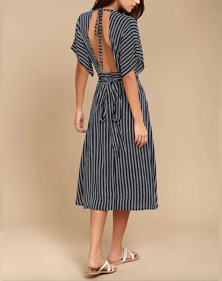 faithfull the brand open back midi dress NY