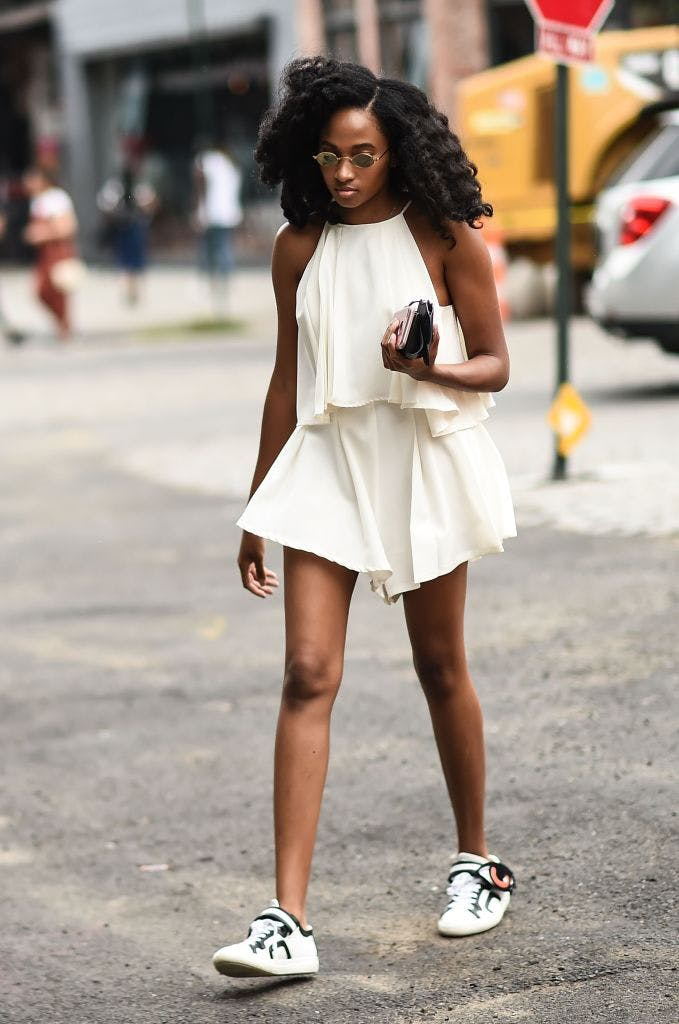 flirty romper and sneakers august style ideas