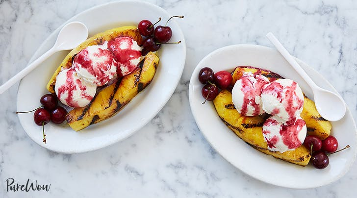 Grilled Pineapple Split Sundae with Cherry Sauce