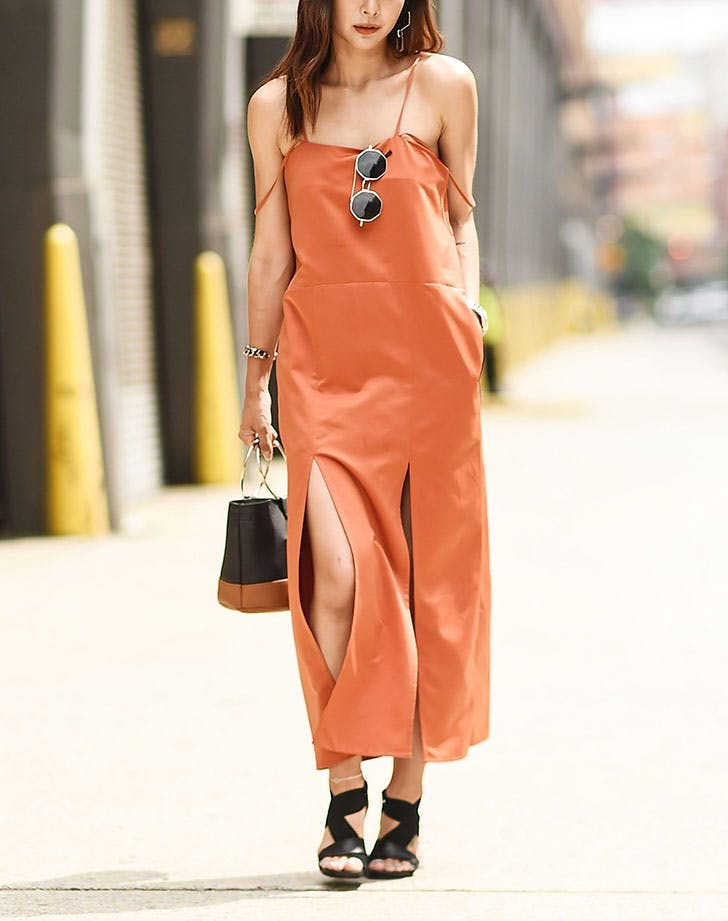 how to wear a slip dress longer hemline