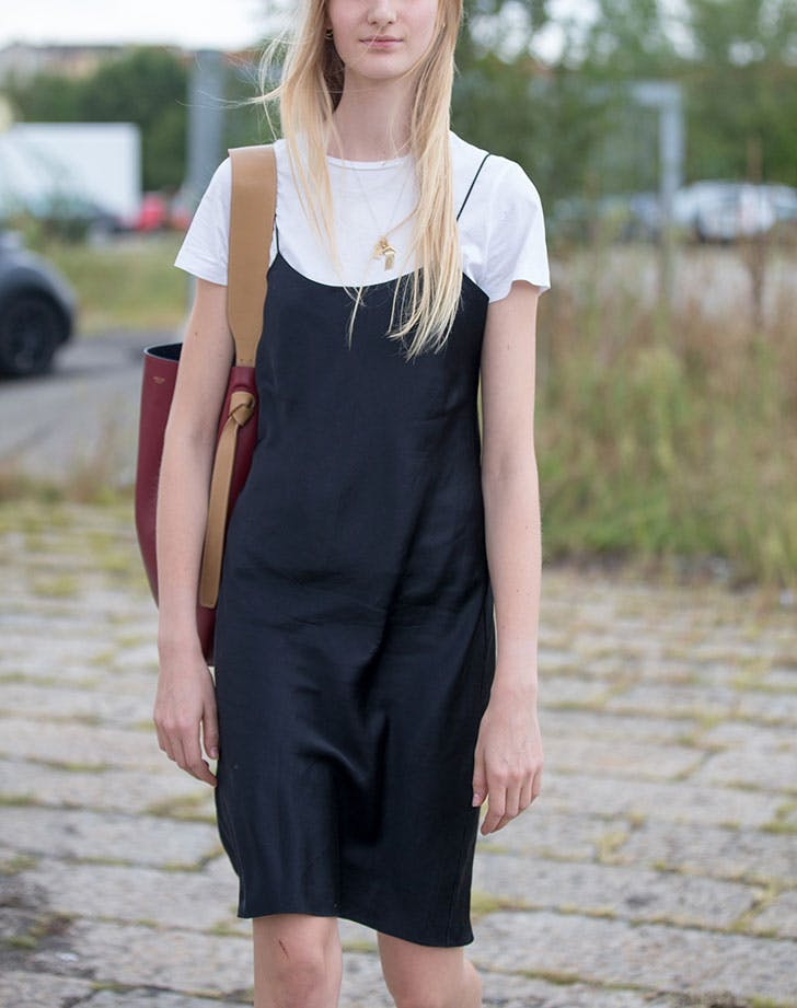 how to wear a slip dress over a white tee