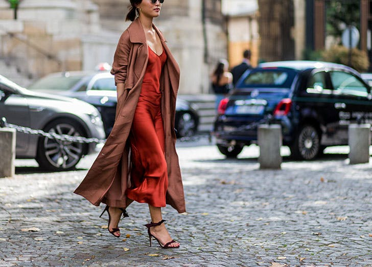 how to wear a slip dress under trench