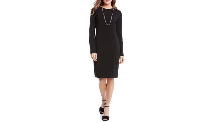 karen kane black tight knit dress