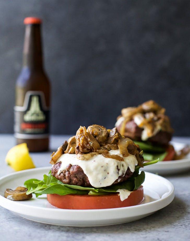mushroom burger with horseradish aioli 921