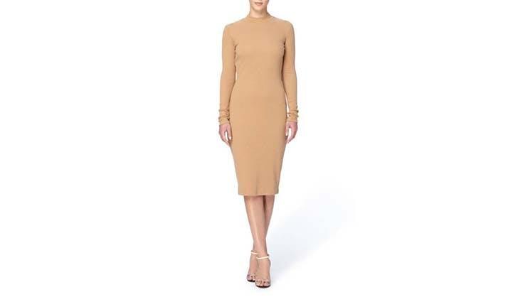 nude stretch knit long sleeve dress