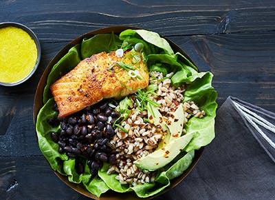 salmon grain bowl 290