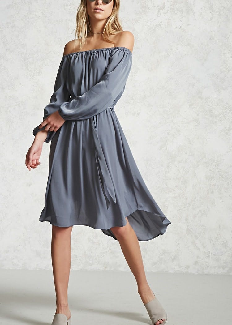 satin off the shoulder dress forever 21