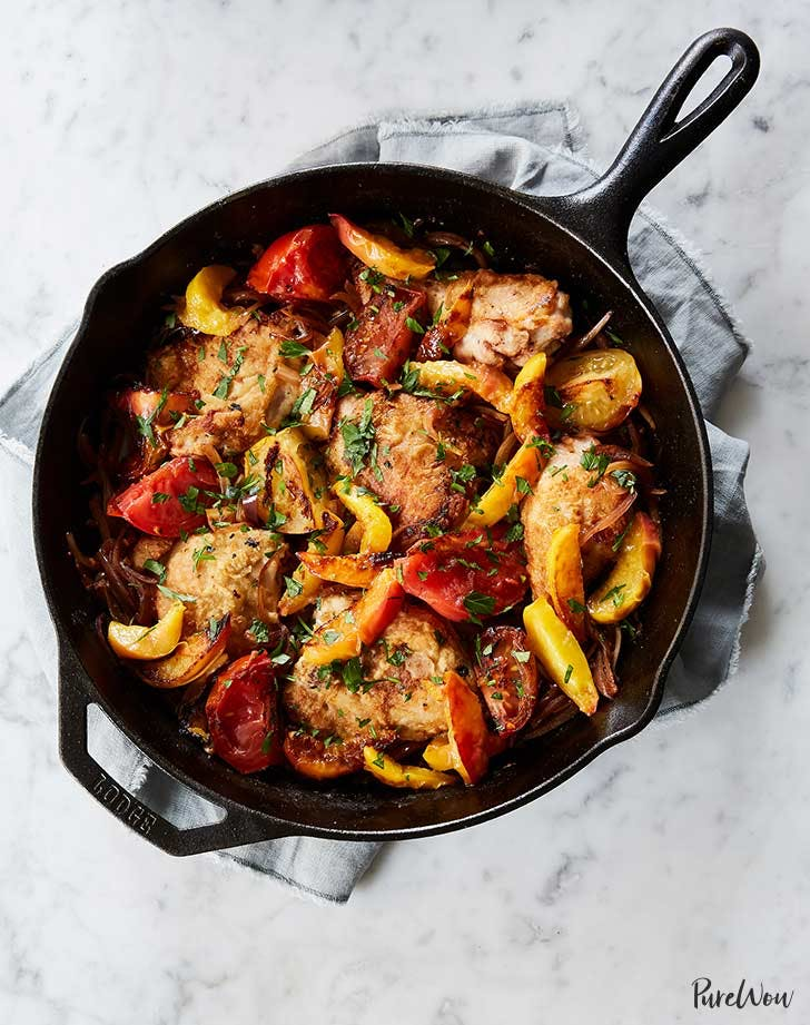skillet chicken with peaches and tomatoes 921