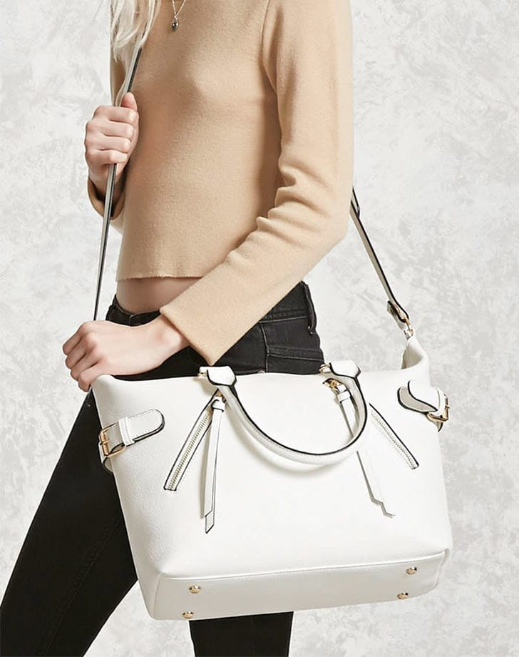 white zipper satchel forever 21