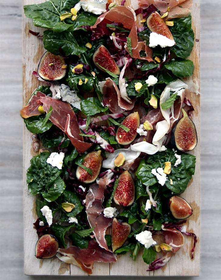 ARUGULA RADICCHIO SALAD WITH FIGS  HUMBOLDT FOG  PROSCIUTTO lunch salads