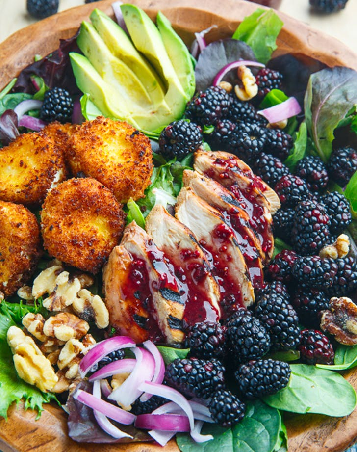 BLACKBERRY BALSAMIC GRILLED CHICKEN SALAD WITH CRISPY FRIED GOAT CHEESE lunch salads