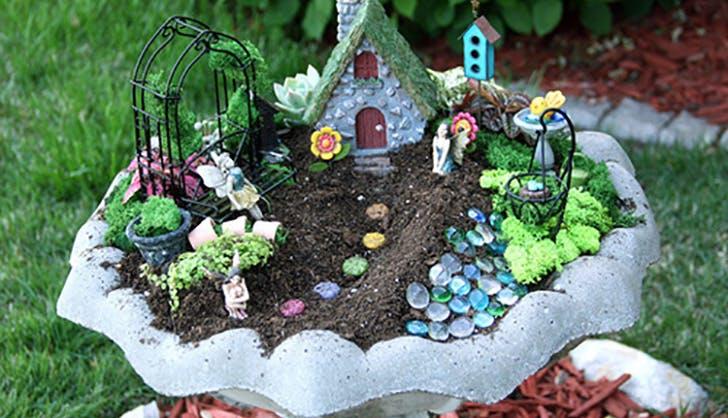 Bird bath fairy garden tutorial