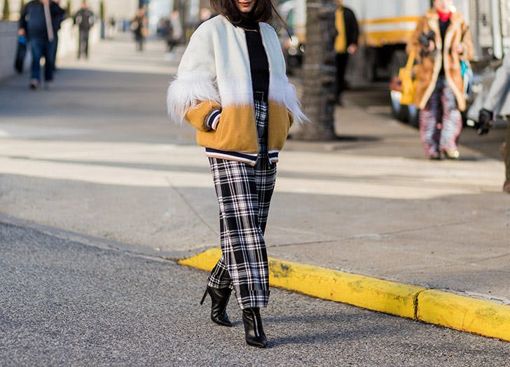 CHI plaid wide leg pants LIST