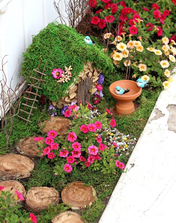 DIY Fairy Garden in rectangle planter