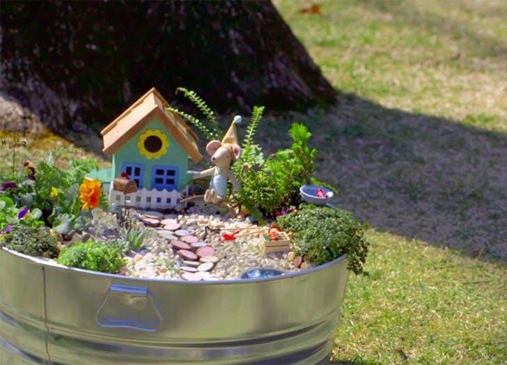 Easy Outdoor Fairy Garden in a silver pot