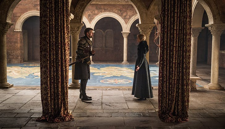 Jaime Lannister leaving Kings Landing and Cersei