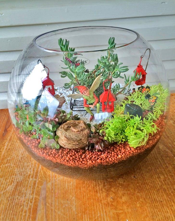 Miniature Terrarium Fairy Garden in a large round glass fish bowl