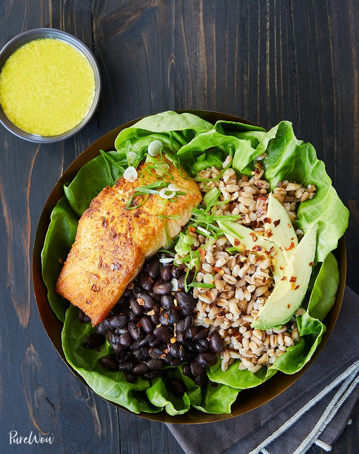 SALMON BOWL WITH FARRO  BLACK BEANS AND TAHINI DRESSING lunch salads