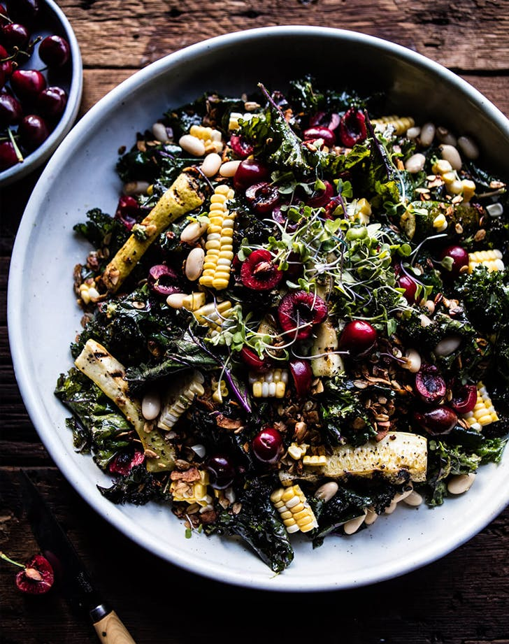 SUNFLOWER SEED  KALE AND CHERRY SALAD WITH GRANOLA lunch salads