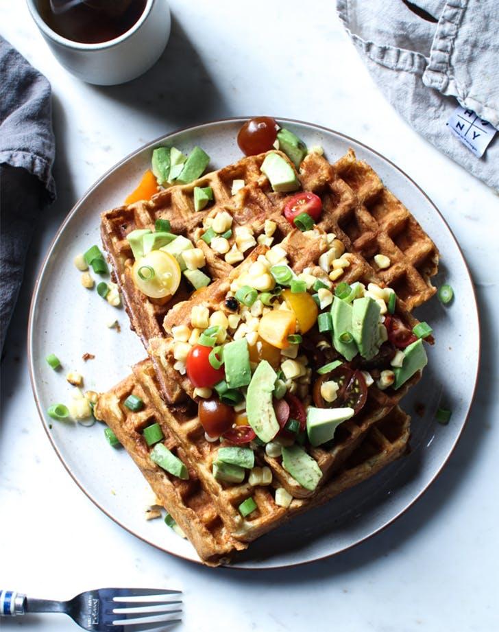 Savory Corn and Cheddar Waffles with Avocado fresh corn recipes