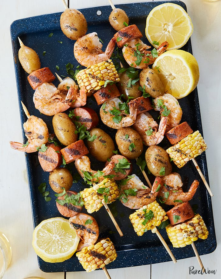 Shrimp Boil Skewers with Corn  Sausage and Potatoes fresh corn recipes