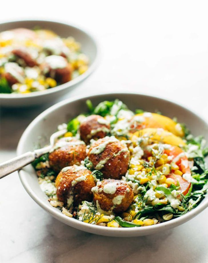 Summer Bliss Bowls with Sweet Potato Falafel and Jalapeno Ranch fresh corn recipes