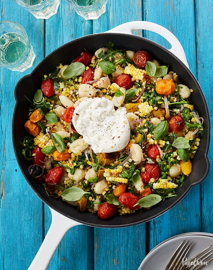 Summer Skillet Gnocchi with Grilled Corn and Burrata fresh corn recipes