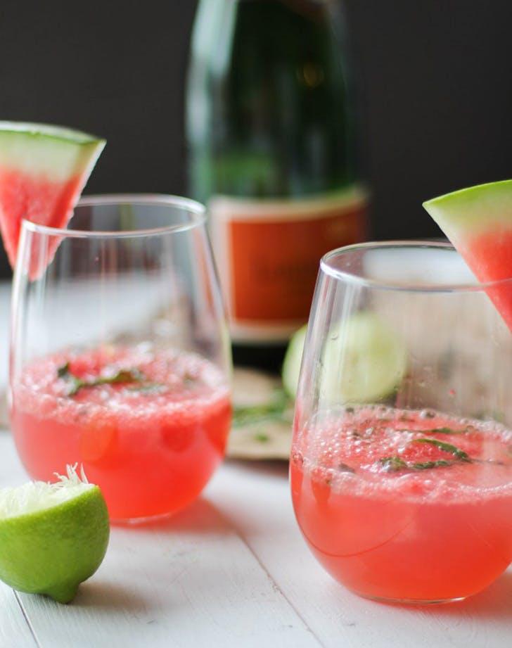 Watermelon Mint Mimosas