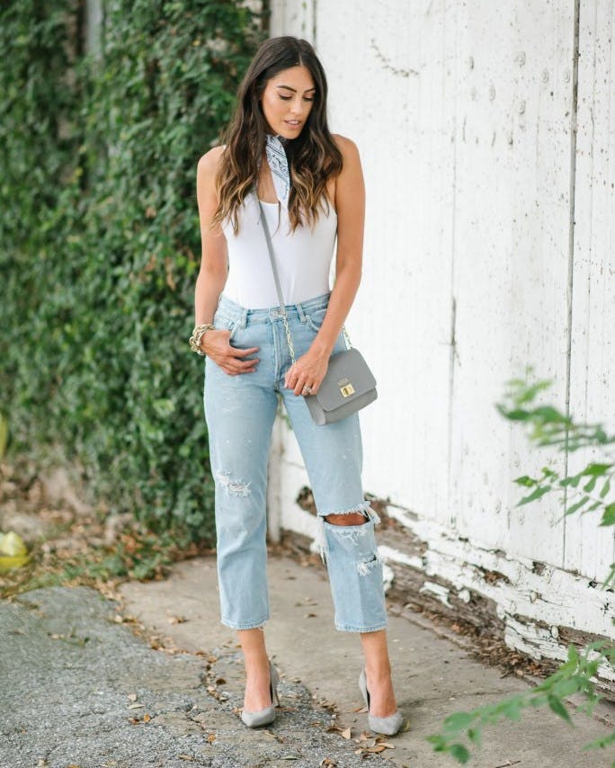 bodysuit and boyfriend jeans