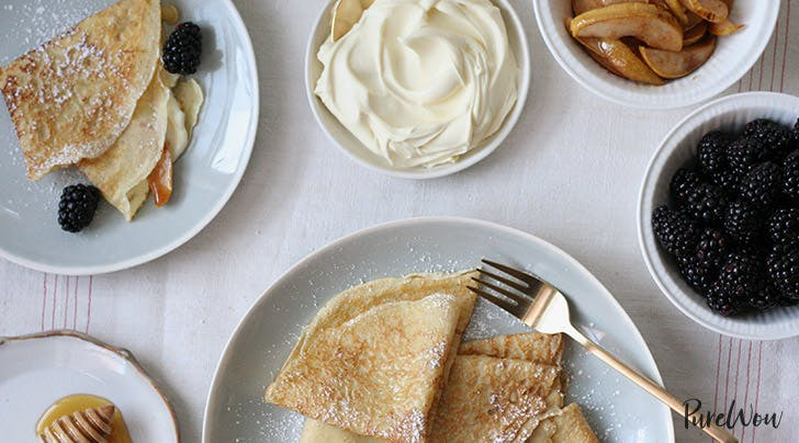 Crepes with Caramelized Pears, Blackberries and Mascarpone Cream