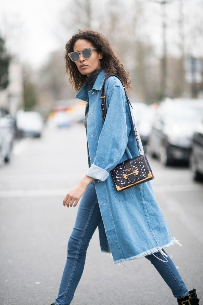 denim trench coat getty images