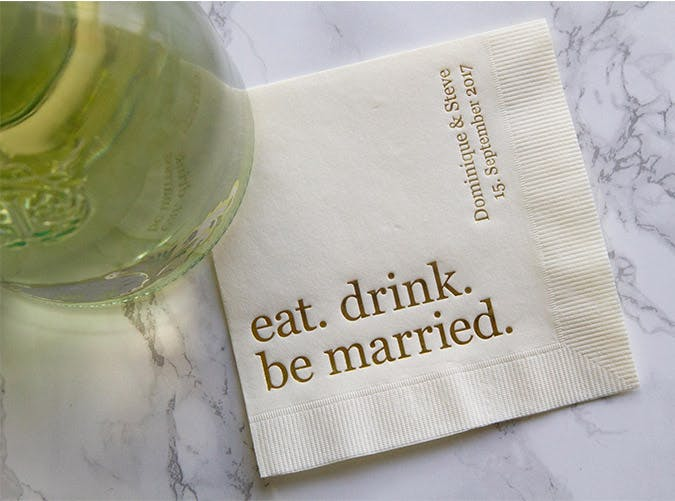 eat drink be married napkins etsy