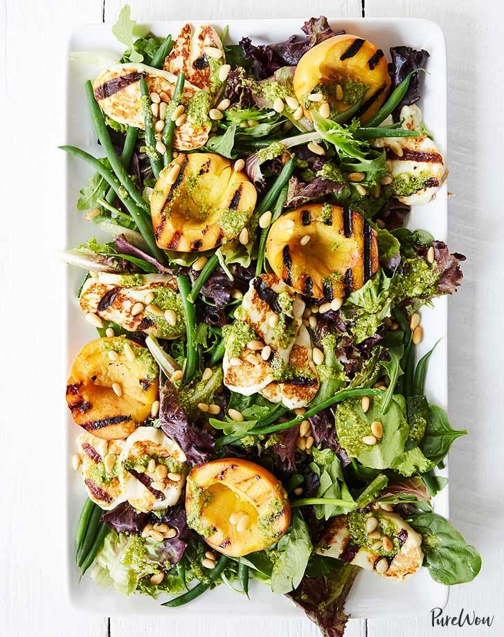 grilled peach halloumi salad 921