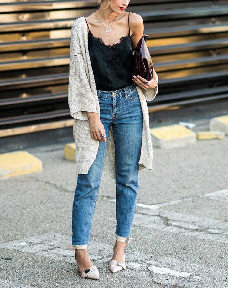 how to wear high waisted denim dressed up