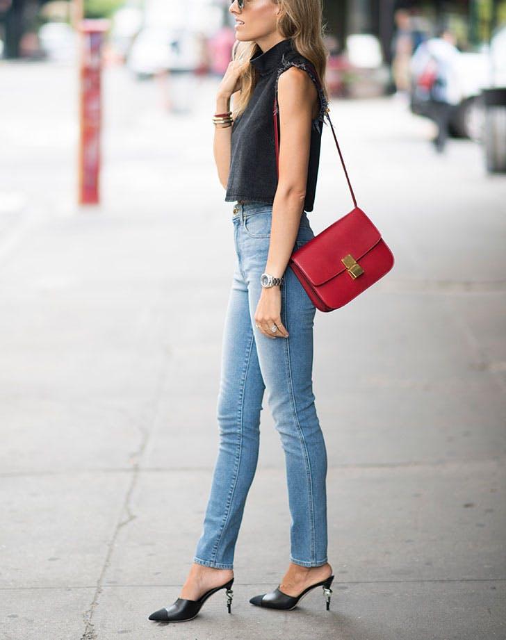 how to wear high waisted denim shorter top