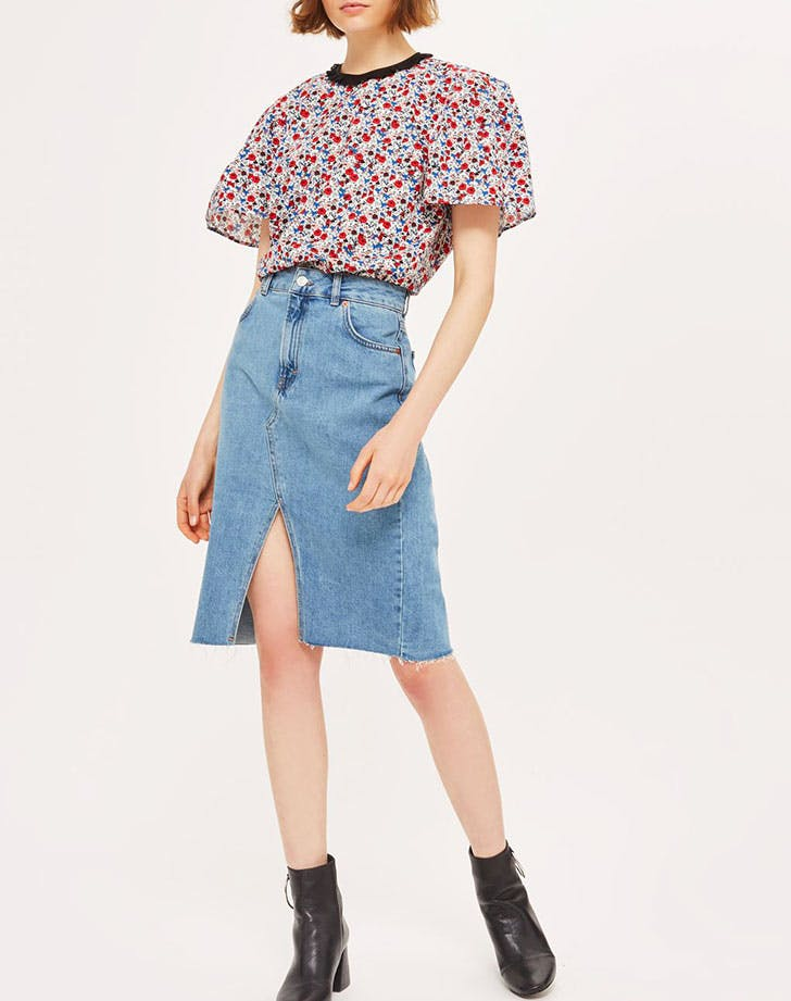 midi skirt denim trends NY
