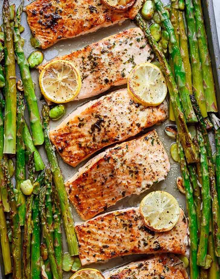 one pan baked lemon garlic salmon asparagus 921