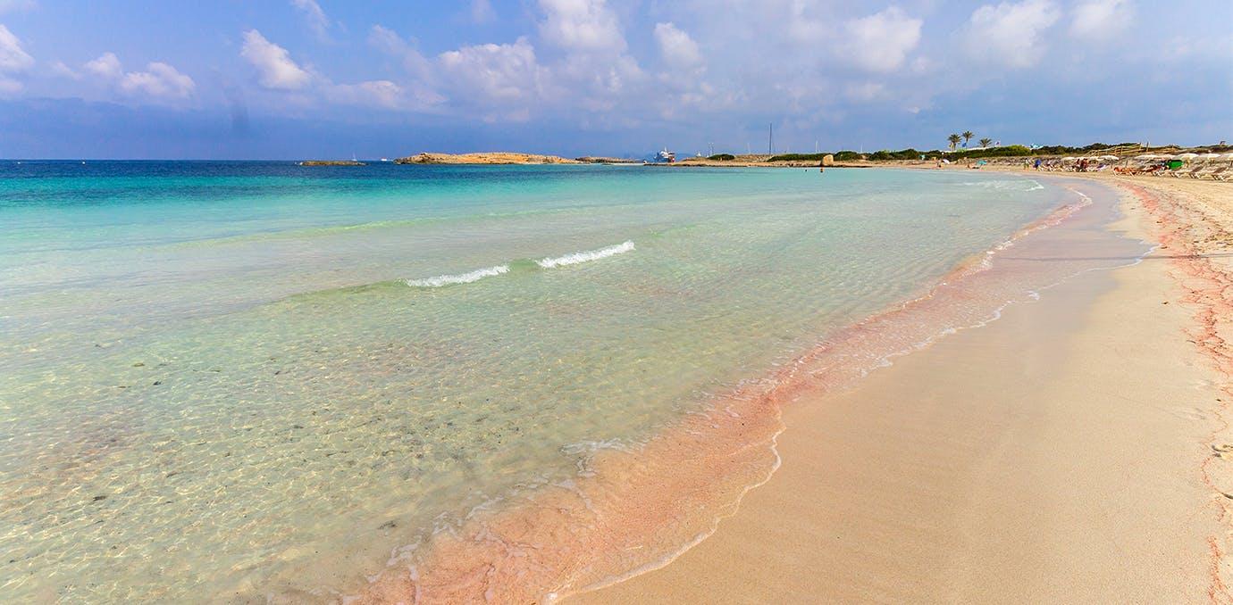 playa de ses illetes formentera spain pink sand beach psd