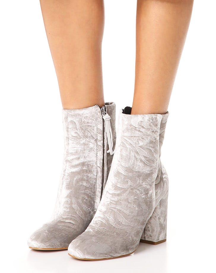 rebecca minkoff embossed velvet boots NY