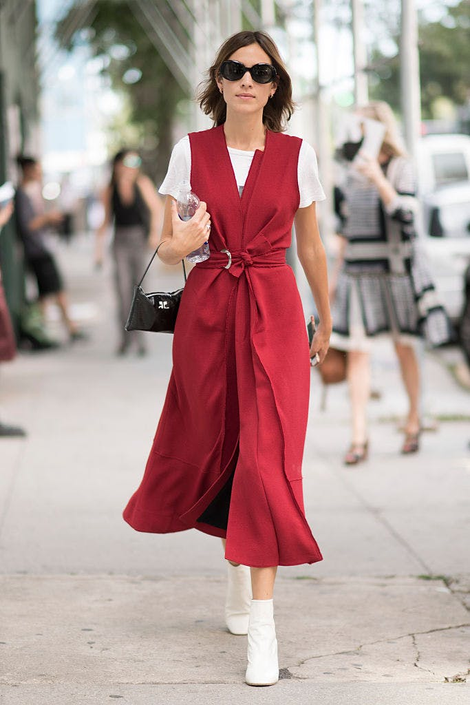 red dress layering getty images