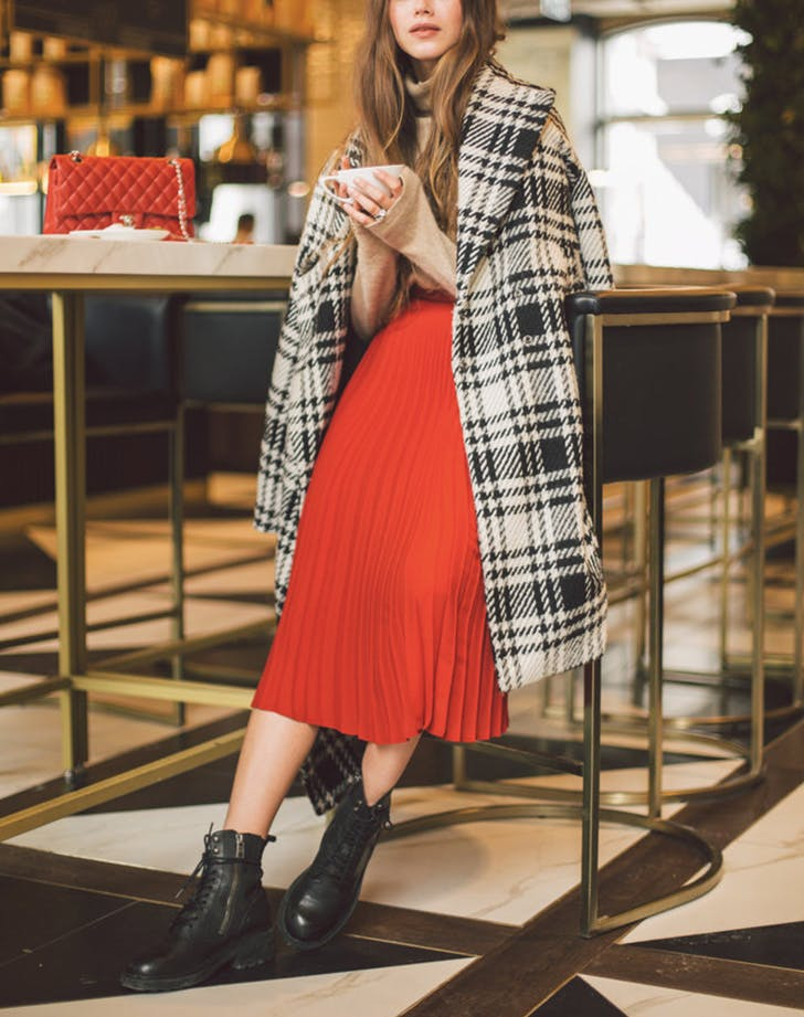 red fashion plaid