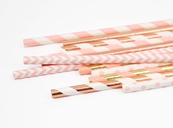 rose gold straws etsy